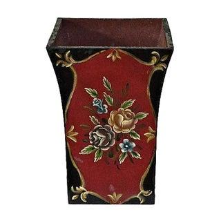 Hand-Painted Rosemaled Floral Wastebasket