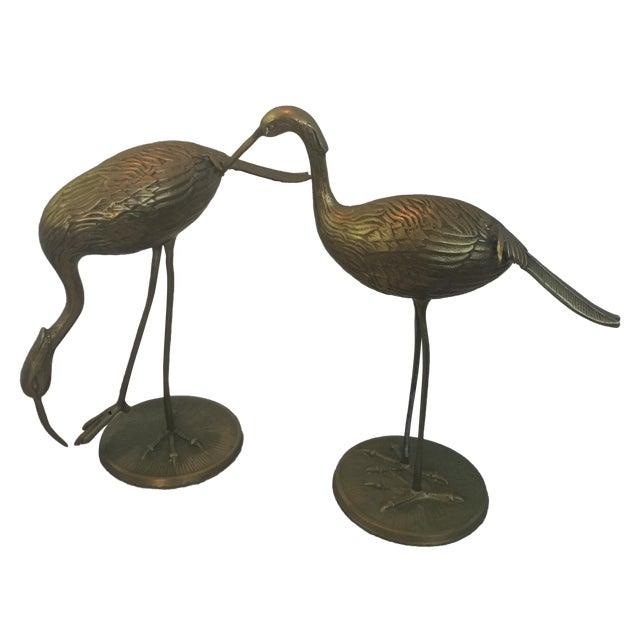 Mid-Century Large Brass Cranes - Pair - Image 1 of 10