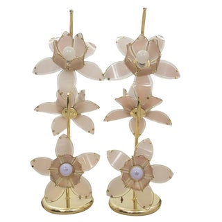 Lily Flower Brass and Glass Tole Floor Lamp - Pair