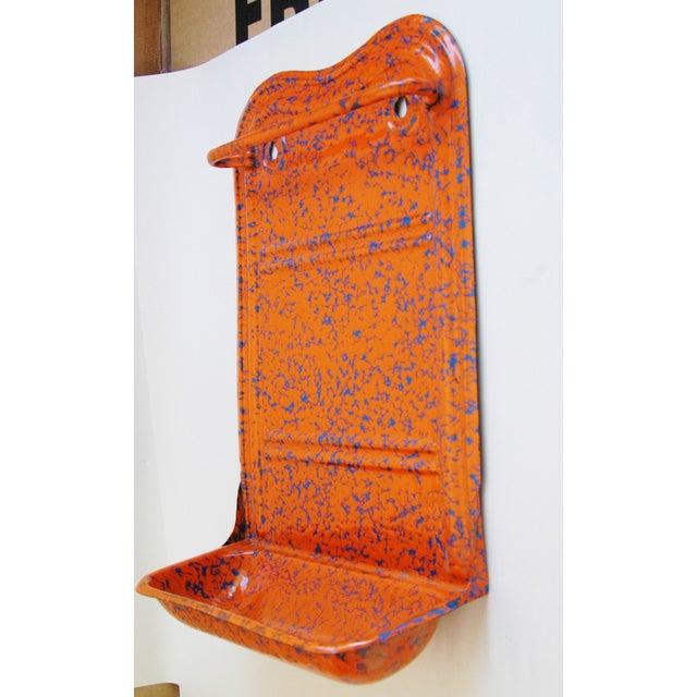 French Marbleized Enameled Utensil & Towel Rack - Image 7 of 7