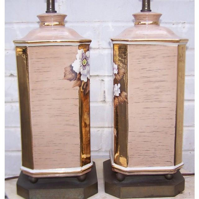 1950s Art Deco Style Ceramic Lamps - Pair - Image 4 of 8