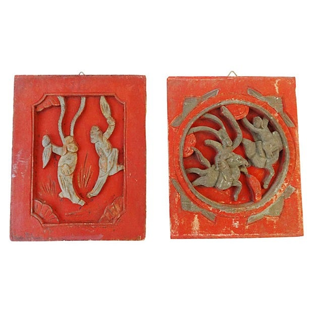 Antique Carved Wood Wall Hangings - A Pair - Image 4 of 6