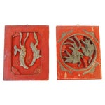 Image of Antique Carved Wood Wall Hangings - A Pair