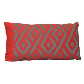 Orange & Gray Stark Ikat Kidney Pillow