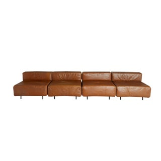 "Tan Leather ""Cubo"" Sectional by Harvey Probber"