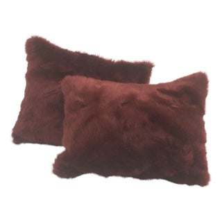 Faux Fur Pillows in Garnet - A Pair