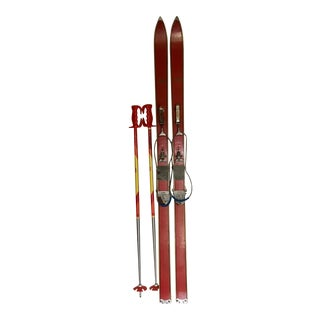 Retro German Cross Country Skis with Poles - Pair