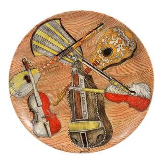 Set of Six Piero Fornasetti Strumenti Musicali Plates, 1950s-1960s