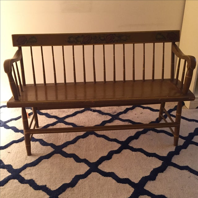 Image of Antique Bench with Floral Painting