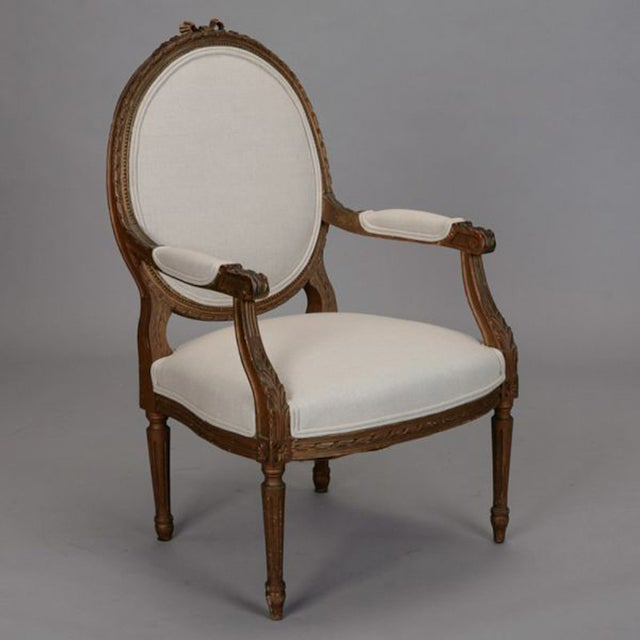 Louis XVI Oval Back Gilded Fauteuils - A Pair - Image 4 of 9