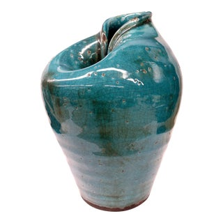 Heavy Clay Turquoise Crackle Vase