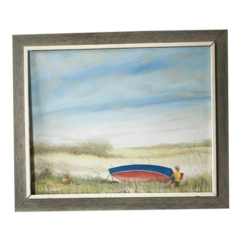'A Boy & His Red Kite' Mid-Century Painting on Canvas - Image 1 of 7
