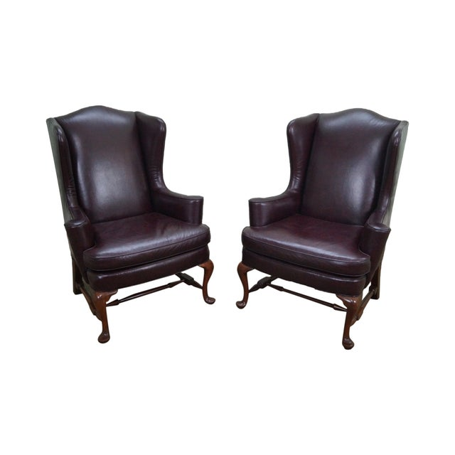 Image of Oxblood Leather Wing Chairs - A Pair