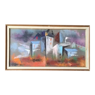 Vintage Siber Cubist Architectural Oil Painting