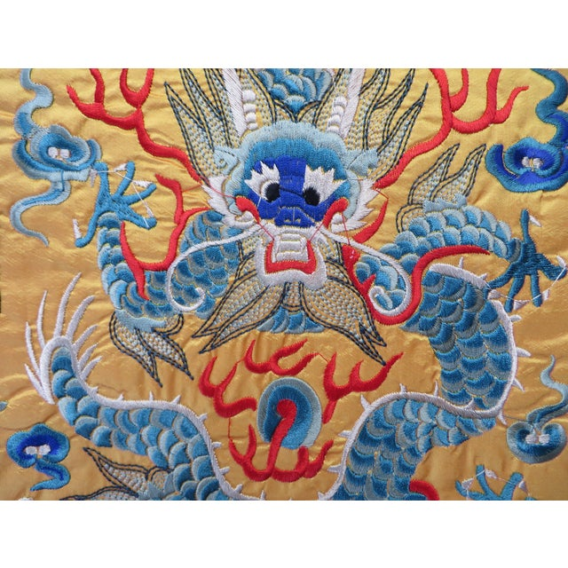 Image of Embroidered Oriental Yellow & Blue Dragon Matts