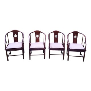 Henredon Cane Asian Dining Chair - Set of 4 McGuire Style Arm