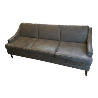 Vintage Mid-Century Modern Gray Vinyl Tuxedo Sofa