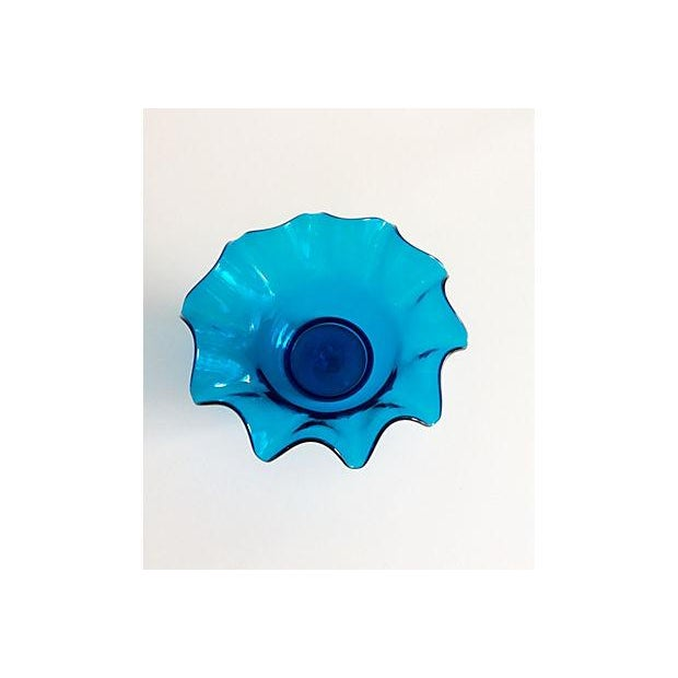 Electric Blue Bischoff Ruffled Glass Bowl - Image 3 of 5