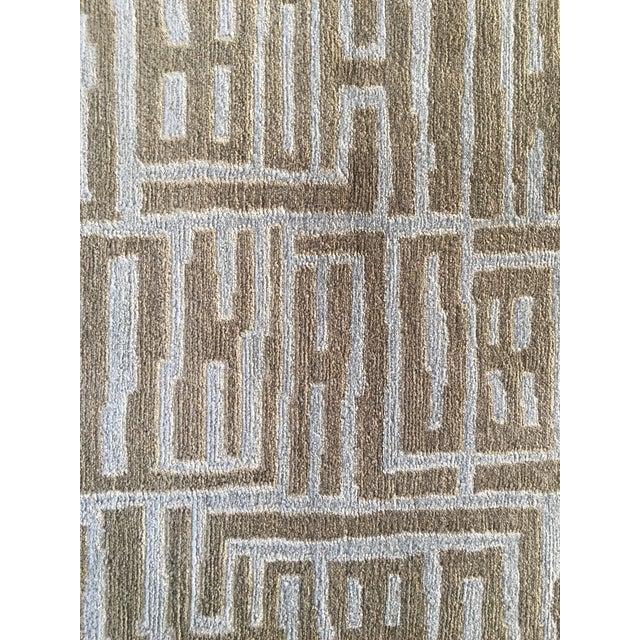 Contemporary Wool & Silk Runner - 3′ × 13′2″ - Image 4 of 5