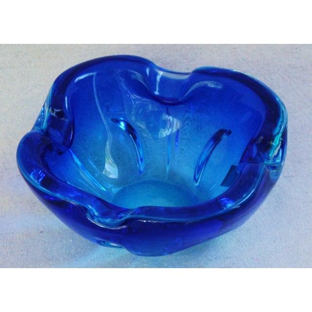 Mid-Century Azure Blue Murano Art Glass Dish - Image 4 of 8