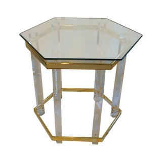 Charles Hollis Jones Brass and Lucite Side Table