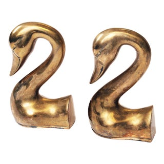 Vintage Brass Swan Head Bookends - A Pair