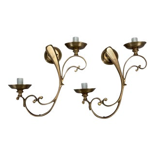 French Brass Elongated Scroll 2 Light Sconces - a Pair