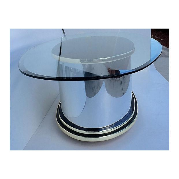 Mid-Century Metal Glass and Wood Coffee Table - Image 6 of 6