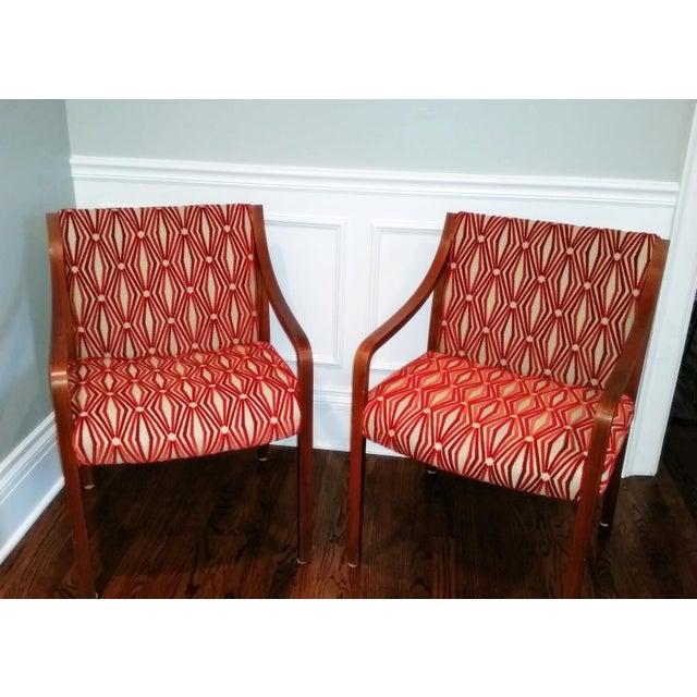 Stow Davis Velvet Geometric Chairs - A Pair - Image 3 of 8