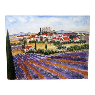 French Lavender Fields Watercolor Painting