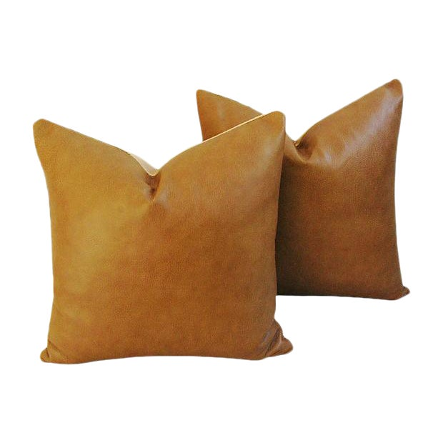Custom Italian Golden Tan Leather Feather/Down Pillows - a Pair - Image 1 of 5