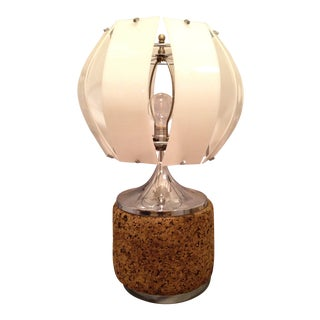Vintage Cork & Chrome Table Lamp