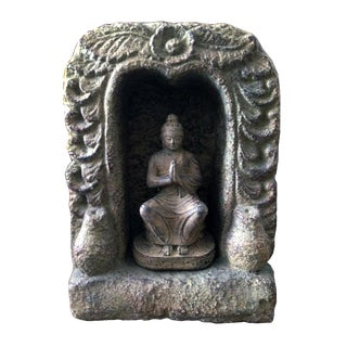 Caved Praying Buddha Statue