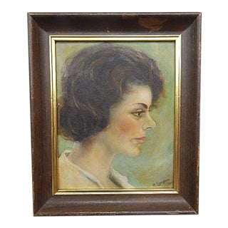Portrait of a Young Woman on Board and Signed