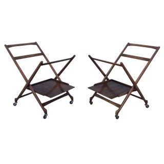Danish Style Walnut Folding Bar Cart Frames