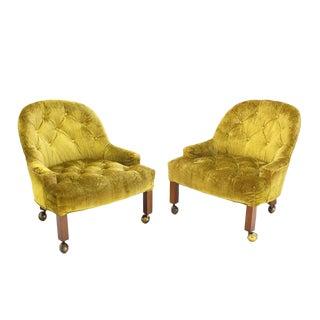 Pair of Gold Tufted Velvet Upholstery Vintage Barrel Back Slipper Lounge Chairs