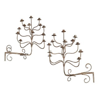 Iron Candle Wall Sconces - A Pair