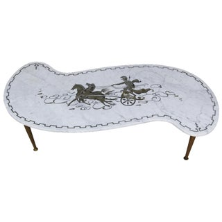 Vintage Italian Chariot Style Marble Coffee Table
