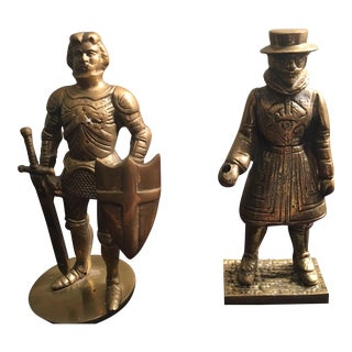 Vintage Brass Knight & Beefeater Bookends - A Pair