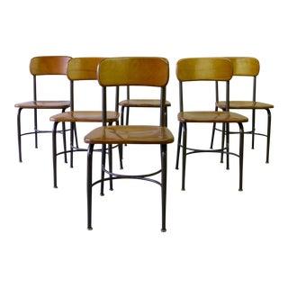 Heywood Wakefield Mid Century Modern School House Chairs - Set of 6