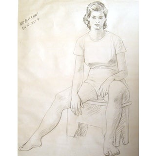 1950s Seated Charcoal Figural Study