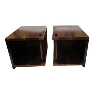 Modern Natural Wood Side Tables - A Pair