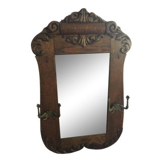 Antique Solid Oak Victorian Mirror
