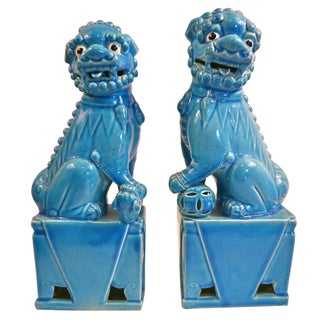 Oversize Blue Foo Dogs - Pair
