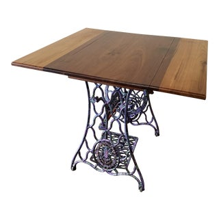 Repurposed Singer Sewing Machine Base Drop Leaf Side Table