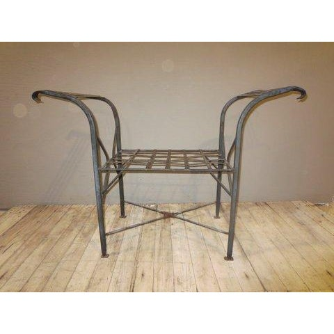 Classical Iron Bench With Crosshatched Seat - Image 2 of 5