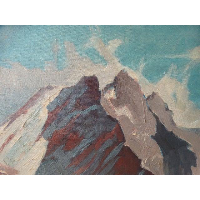 Image of 1950 Mountain Range Landscape Oil Painting