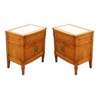 Henredon Mid-Century Marble Top Walnut Nightstands- A Pair