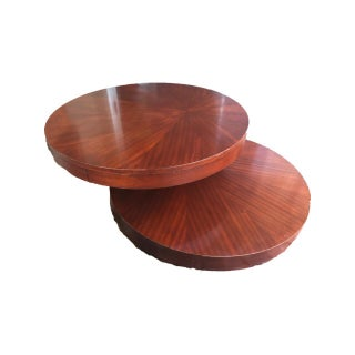 Round Wooden Rotating Coffee Table