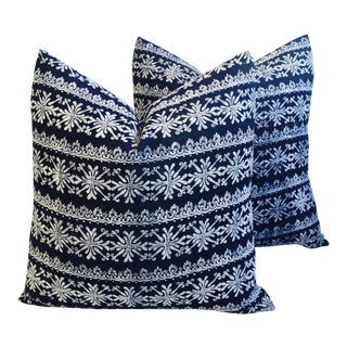 Indigo Blue & White Batik Feather/Down Pillows - Pair